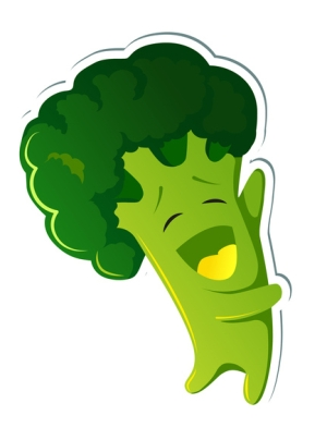 Sticker kawaii broccoli character. Cute broccoli in yellow hoodies.